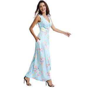 Sky Boho Sleeveless Floral Print Pocket Maxi Dress